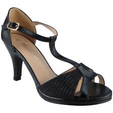 Womens Peeptoe Sandals HEELS Ladies Wedding Bridesmaid Bridal Party Shoes Sizes Black UK 8 / EU 41 / US 10