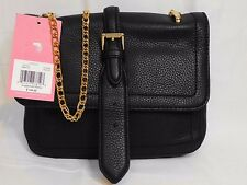 ISAAC MIZRAHI LUCILLE Black Leather Clutch Cross-body Bag Msrp $148.00