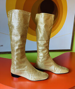 Vintage 60s Go Go Boots Gold Lame Rare Mod boots Knee High Sparkly