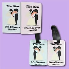 Wedding Mr & Mrs Personalised Passport Covers and luggage tag set Travel Gift