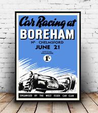 Car Racing at Boreham: Vintage Motoring advert, Wall art ,poster, Reproduction.