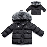 Kids Boys Hooded Puffer Warm Coat Faux Fur Padded Jackets Thick Winter Outwear