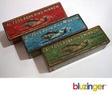 (3) Vintage Al Foss Minnow Fishing Lures w/ Tin Boxes