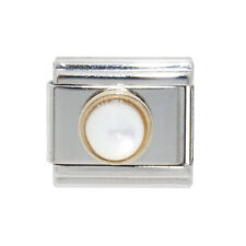 June Pearl birthstone Italian Charm - fits 9mm classic Italian charm bracelets