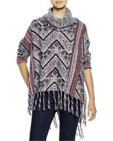 NEW FREE PEOPLE Size L Be The One Poncho Fringe Cowl Neck Sweater Hippie Boho