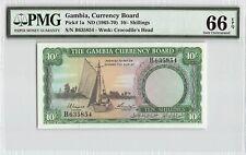 Gambia ND (1965-70) P-1a PMG Gem UNC 66 EPQ 10/- Shillings