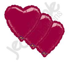 "3 pc - 18"" Solid Burgundy Heart Balloon Wedding Baby Bridal Shower Birthday Luau"