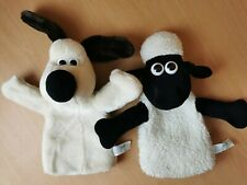 VINTAGE 1989 WALLACE AND GROMIT / GROMIT & SHAUN THE SHEEP HAND PUPPET