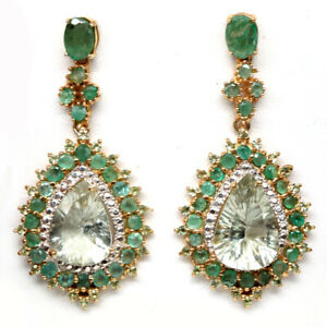 NATURAL 11 X 15 mm. GREEN AMETHYST, EMERALD & CZ 925 STERLING SILVER EARRINGS