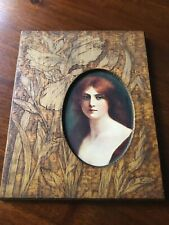 Vintage hand carved wood picture frame FLORAL 4x6 photo