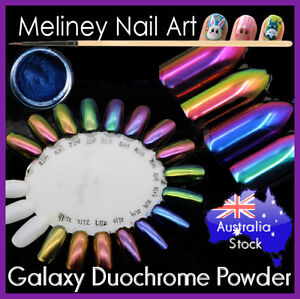 Galaxy Duochrome Mirror Powder Chameleon Multi Chrome Nails art colour changing