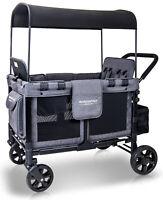 Wonderfold Wagon W4 Push Multi-Function 4 Passenger Folding Stroller Gray Black