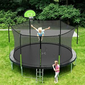 AOTOB 8FT 10FT 14FT 15FT Trampoline with Safety Enclosure Net,Outdoor Trampoline
