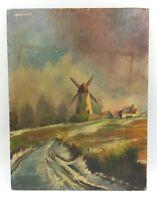 Original Vintage Oil On Canvas Painting Signed Abrassarta Windmill On River Side