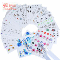 40 Sheets Decal Water Transfer Flower Manicure Nail Art Stickers DIY Decoration