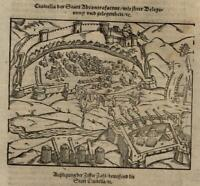 Siege of Civitadella 1598 Munster Cosmography wood cut print fortified city view
