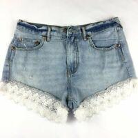 Free People Women's Size 26 Blue Jean Shorts White Lace Trim Distress Washed