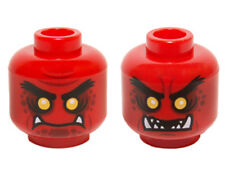 LEGO - Minifig, Head Black Eyebrows, Yellow Eyes, Dark Red Spots, 2 Fangs - Red
