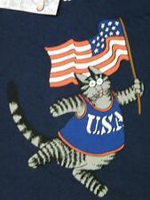 New Crazy Shirts Kliban Cat Patriotic USA Flag T-Shirt Navy Blue Men's size M