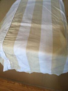 "Pottery Barn Farmhouse ""Buffalo Stripe - Beige/White"" Fabric Shower Curtain,EUC"