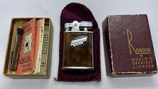 "Vintage Ronson "" Princess "" Lighter BARELY USEDin original Burgundy Box & Paper"