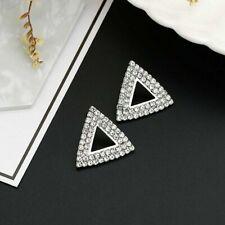 Cute New Silver Fashion Jewelry Clear Rhinestone Crystal Triangle Stud Earrings