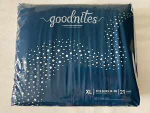 All NEW 2021 Goodnites XL Diapers. 95 -140+ Ibs - BOYS - Pack of 21 - Free Ship