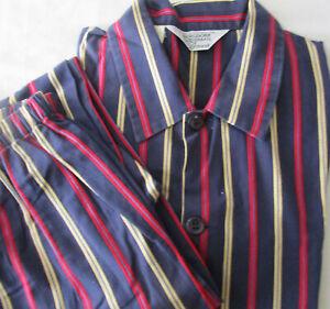 Bergdorf Goodman Bonsoir Cotton Striped Pajamas PJs Set Made in England Men's XL
