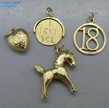 VINTAGE 4 VARIOUS SOLID 9CT GOLD CHARMS, HORSE, '18', HEART, LOVE YOU SPIN 3.7g