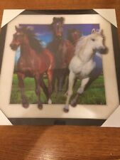 "Wall Art Decor Framed 3D Printed Amazing 16"" X 16"" Running Wild Horses Poster"