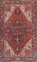 Antique Vegetable Dye Geometric 8x11 Wool Serapi Oriental Rug