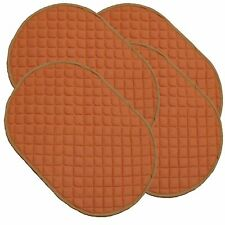 Set of 4 Kitchen Dining Washable Quilted Placemats Rust Colour Mat Mats