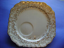 POPE GOSSER CHINA SNACK PLATES #41 4PC. KING QUALITY HAND PAINTE WAR.22K.GOLD