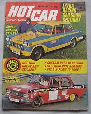 Hot Car magazine 02/1973 featuring Ford Escort RS, Capri, Fiat X1/9, Renault