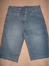 NEW GIRLS CLOTHES BLUE DENIM 3/4 LENGTH CROPPED JEANS M&Co AGE 9 /10 BNWT