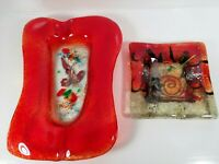(2) Abstract Glass Ashtrays/Trinket Trays Original Collection Greece Hand Made