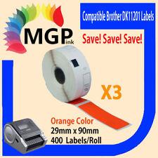 3 Compatible for Brother DK11201 Refill only Orange Address Label QL570 QL550...