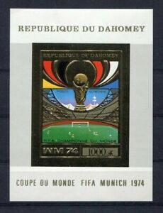 S5106) Dahomey 1974 MNH Wc Football - World Cup Football S/S GOLD Imperf Winner