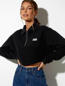 MOTEL ROCKS Gandi Top in Black with Motel Work Clothing Label (MR78)