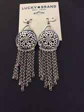 LUCKY BRAND silver tone long dangle wire back earrings Sugar Plum Hinge A14 116