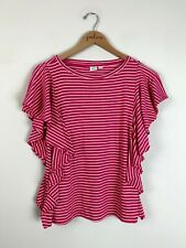 Gap Pink Striped Short Ruffle Sleeve Shirt Top Size X-Small XS
