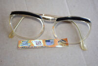 Monture lunettes de vue type vintage (branche doré et sourcils noir)