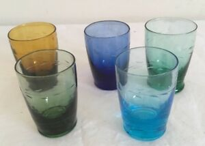 5 Vintage Retro Harlequin Shot Glasses With Etched Leafs Pattern