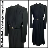 Size 10 Vintage Midi Dress 1980s Black Plisse Pleat High Turtle Neck Belted Chic