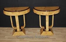 COPPIA Art Deco console tabelle BIONDA NOCE ARREDAMENTO