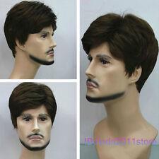 New Brown Short Menfolk Man Men Male Daily Wear Hair Wigs+wig cap NO:A185