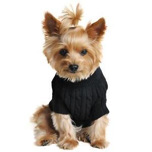 Doggie Design Black Combed Cotton Cable Knit Dog Sweater XXS-3XL