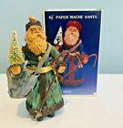 "KURT ADLER Santa's World 6 1/2"" Tall PAPER MACHE SANTA Table Top Piece IN BOX"