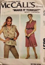 Vtg McCall's Make It Tonight pattern 6637 Misses' Dress or Top size Large 18-20