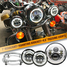 "7"" LED Projector Chrome Headlight + Passing Lights + Ring Fit Harley Road King"